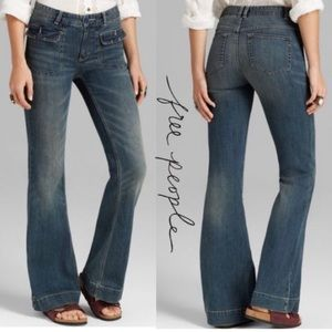 FREE PEOPLE FLAT FRONT FLAP POCKET FLARE JEANS